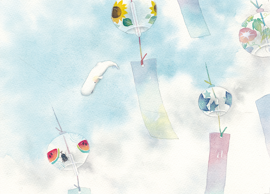 wind bells and a whale image